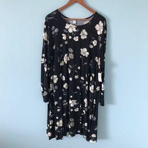 Long Sleeve Old Navy Black Flower Swing Tee Dress